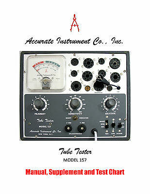 1967 Manual For Accurate Instrument Model 157 Tube Tester Supplement