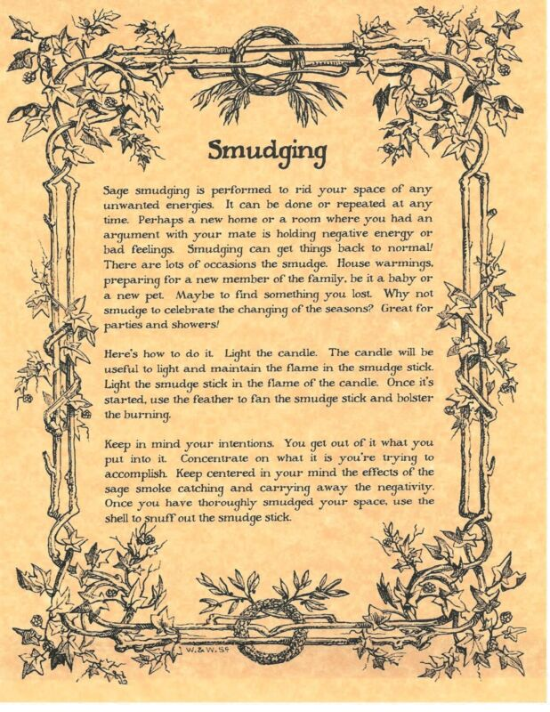 Book of Shadows Spell Pages ** Parchment about Smudging ** Wicca Witchcraft BOS