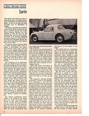 1961 AUSTIN-HEALEY SPRITE ~ ORIGINAL 2-PAGE ROAD TEST / ARTICLE / AD