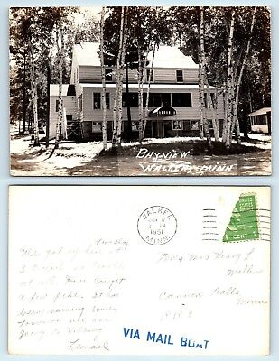 Walker, MN - RARE BAYVIEW RESORT HOTEL w VIA MAIL BOAT POSTAL CANCEL STAMP  RPPC