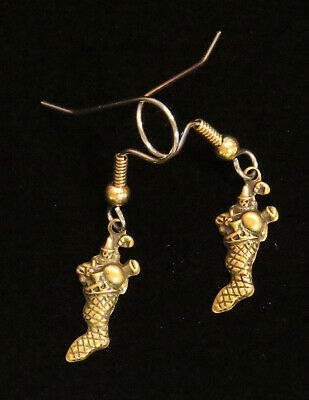 Tiny Christmas Stockings (Tiny Christmas Stocking Earrings Brass Stockings Happy Holiday Jewelry)