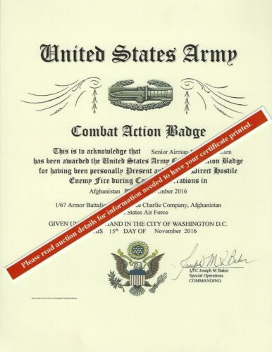 Army Combat Action Badge Medal Replacement Certificate CAB
