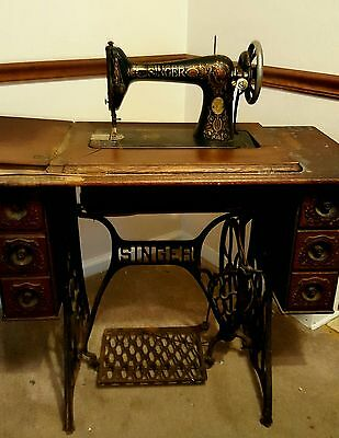 Antique Cast Iron SINGER Treadle Redeye Sewing Machine Wood Drawers Steampunk