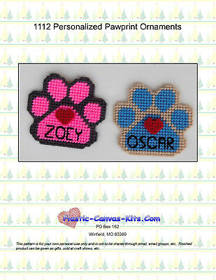 Personalized Pawprint Christmas Ornaments-Plastic Canvas Pattern or - Christmas Ornaments Plastic Canvas