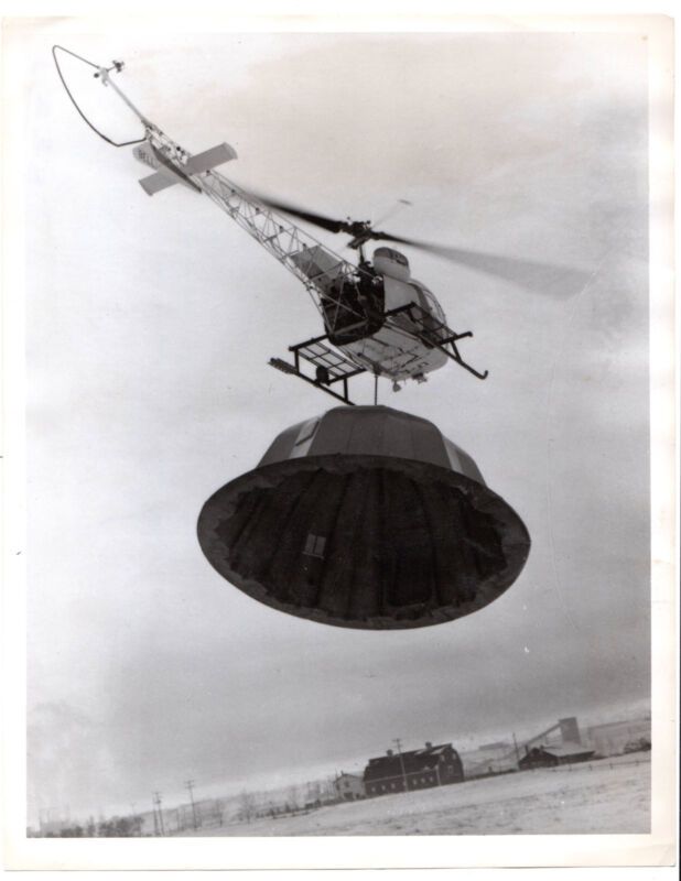 """Vintage Press Photo Helicopter carries """"Igloos for Eskimos"""" Calgary, Alberta Can"""