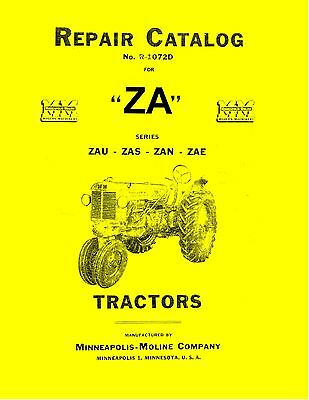 Minneapolis Moline Za Tractor Repair Manual Reproduction