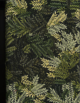 Small Fern Leaves Cotton Quilt Fabric by P&B Textiles Green