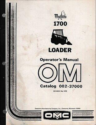 Mustang Omc 1700 Skid Steer Loader Operators Manual