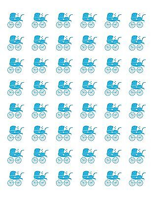 48 LIGHT BABY BOY BLUE CARRIAGE ENVELOPE SEALS LABELS STICKERS 1.2