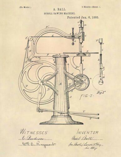 Antique Vintage Scroll Saw US Patent Art Print- Vintage Scroll Saw - 792