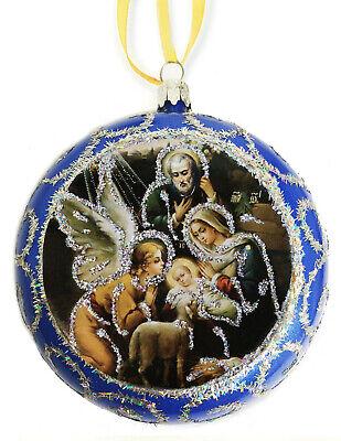 Blue Religious Christmas Ornament Holy Family Icon Nativity Angel St Joseph Gift ()