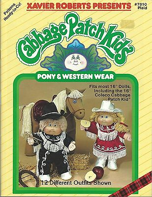 CABBAGE PATCH KIDS PONY & WESTERN WEAR XAVIER ROBERTS SEWING PATTERNS BOOK (Sewing Patterns Western Wear)