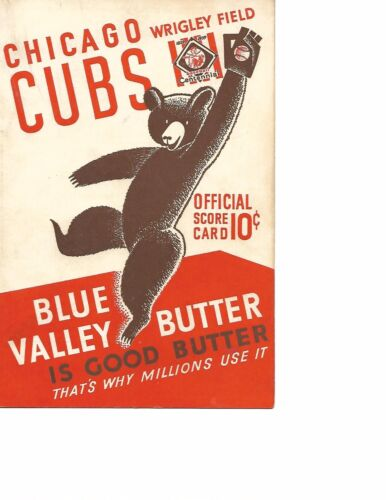 1939 Chicago Cubs-Reds Program/Scorecard Reds Rout Cubs GEM!!