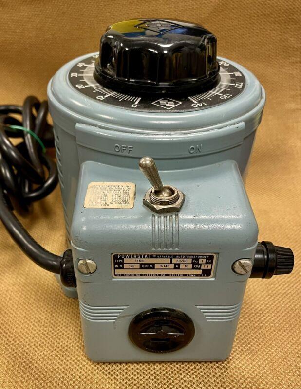SUPERIOR ELECTRIC POWERSTAT 116B VARIABLE AUTOTRANSFORMER, 1.4 KVA, USED