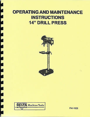 "Delta/Milwaukee 14"" Drill Press Operating & Maintenance Manual dp-220"