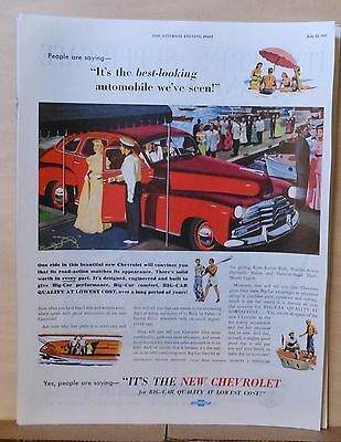 1947 magazine ad for Chevrolet - Best looking auto ever seen, car at yacht (Best Looking American Cars)