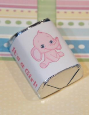 30 Baby Shower It's a Girl Pink Elephant Hershey Candy Nugget Wrappers Stickers  (Girl Elephant Baby Shower)