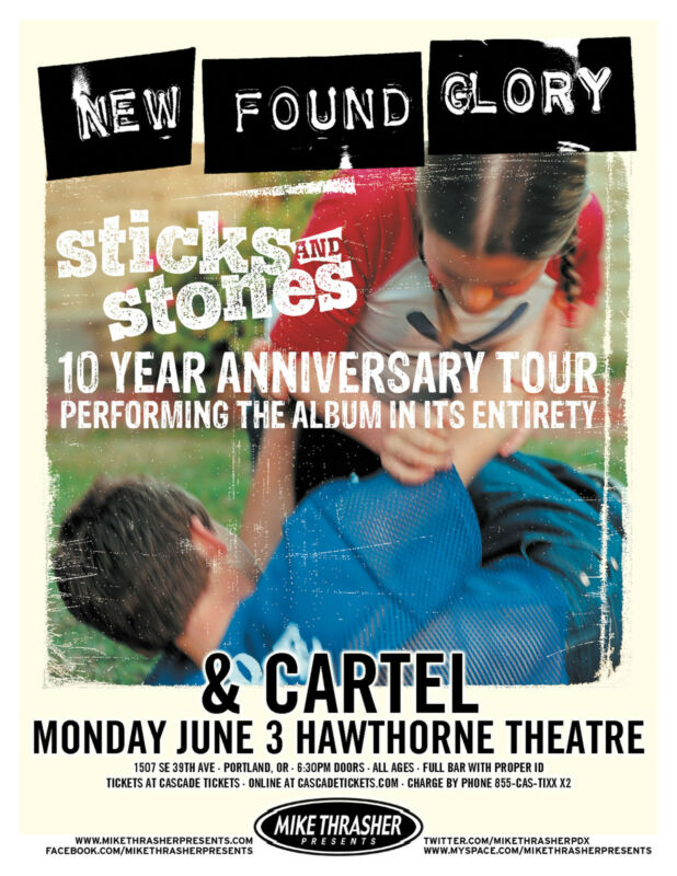 NEW FOUND GLORY /STICKS & STONES /CARTEL 2013 PORTLAND CONCERT TOUR POSTER- Punk