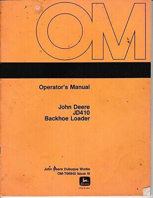 John Deere Jd410 Tractor Loader Backhoe Operators Manual