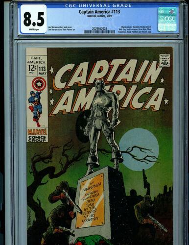 Captain America #113 CGC 8.5  1969 Marvel Red Skull Avengers Amricons