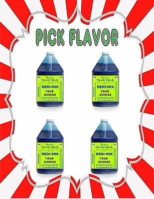 Snow Cone Syrup 4-one Gallon Jugs For Snow Cone Machine - You Choose The Flavors