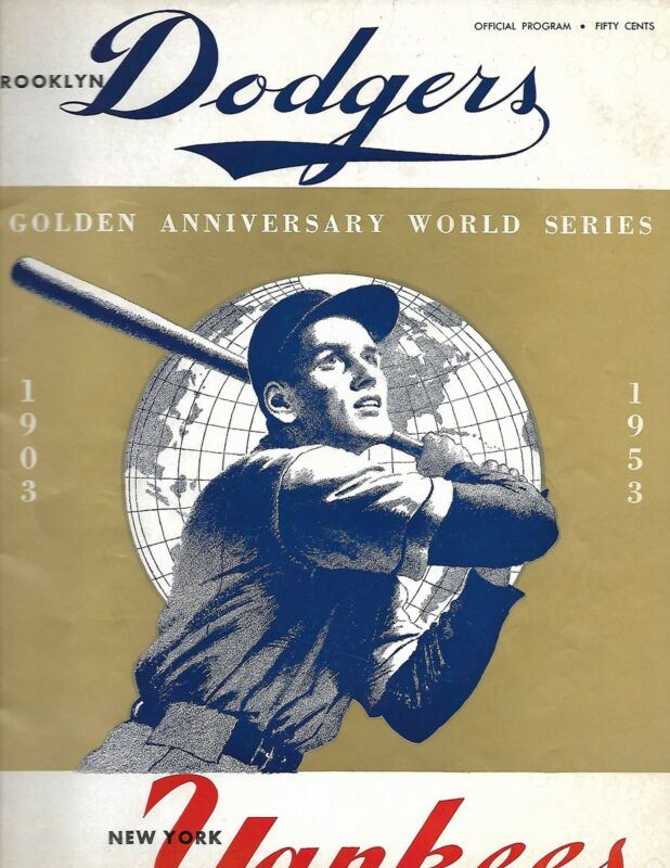 1953 World Series Program Dodgers-Yankees Game 3 Campy Comes Through NICE!!