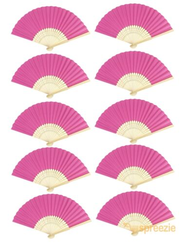 Pink Paper Hand Fans Bamboo Chinese Folding Pocket Fan Decor Gifts New (10 Pack)