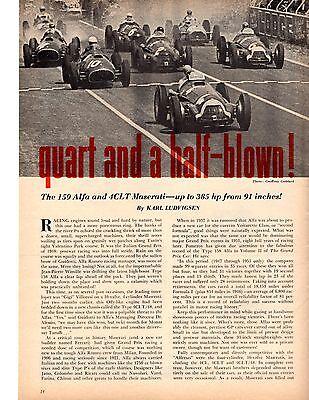 1958 MASERATI 4CLT/48 & ALFA ROMEO TYPE 159 ~ NICE 6-PAGE ORIGINAL ARTICLE / AD