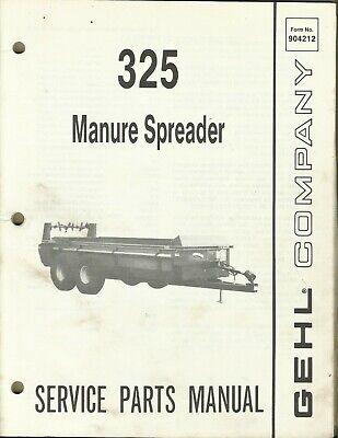 Gehl Company Manure Spreader 325 Form No. 904212 Tractor Parts Manual