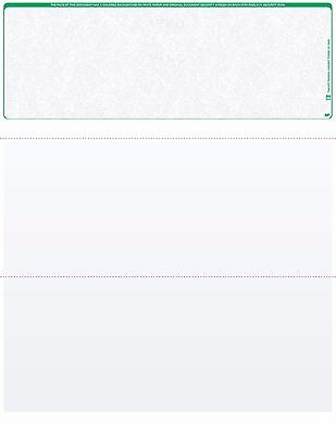 Blank Check Stock - Blank Check Paper Stock - Computer Check On Top GREEN MARBLE Count 500