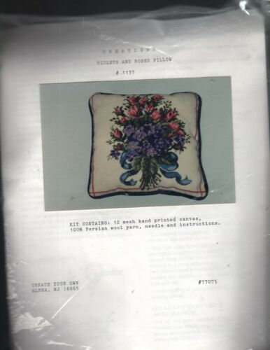 Creations VIOLETS AND ROSES PILLOW needlepoint kit, 1137 - New