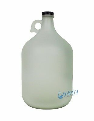 1 Gallon Frosted Glass Water Bottle Jar Jug Canteen Brew Container Carboy WHITE