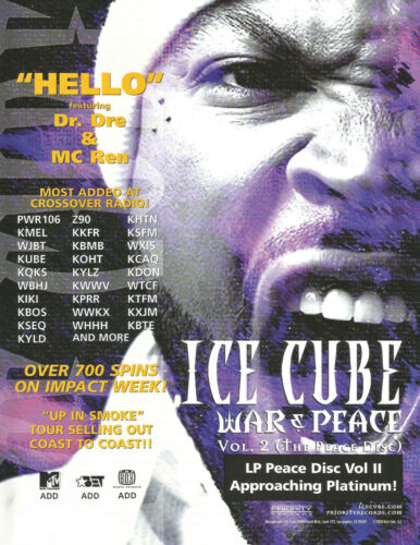 ICE CUBE Rare 2000 Hello PROMO TRADE AD Poster for War Peace CD MINT USA