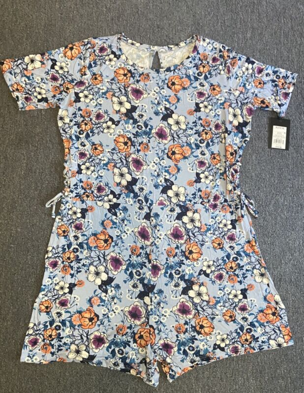Girls Art Class Blue Floral Romper Youth Jumpsuit Side Tie Accent Size XL 14/16