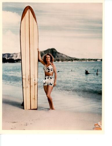 JOAN CRAWFORD Old Restrike Photo 1940s COLOR Beach DBLE WT Surfboard