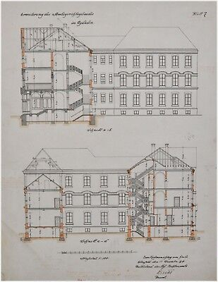 Erweiterung des Amtsgerichtes in Opladen - alte große Bauzeichnung von 1911
