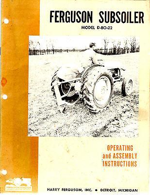 Original 1954 Ferguson Subsoiler Model D-bo-22 Operating Assembly Instructions