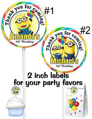 20 MINIONS BIRTHDAY PARTY FAVORS LOLLIPOP PARTY FAVORS STICKERS LABELS  (Minion Favors)