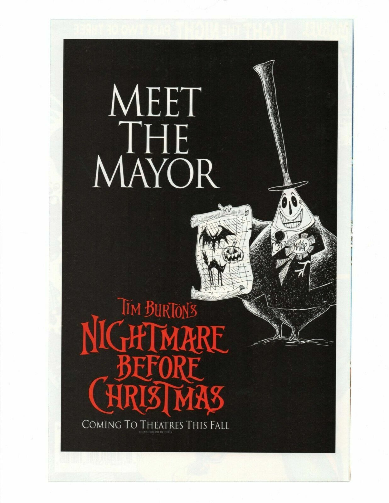 RARE Vintage 1993 The Nightmare Before Christmas Meet The Mayor Promo Movie AD