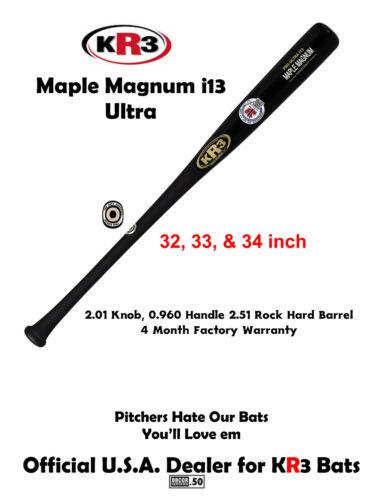 KR3 NEW Ultra Maple Magnum All Wood Baseball Bat i13 33 inch 120 day warranty
