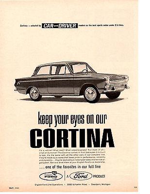1965 FORD CORTINA / CAR & DRIVER BEST SPORTS SEDAN ~  VINTAGE ORIGINAL PRINT