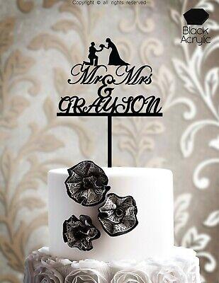 Custom Mr Mrs Wedding Cake Topper Personalized Wood Laser Cut Customized ind103 (Custom Cake Topper)