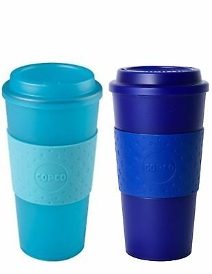 Copco Acadia Reusable Plastic Translucent Coffee Travel Mug Set 16 Oz, Teal Navy 16 Oz Translucent Travel Mug