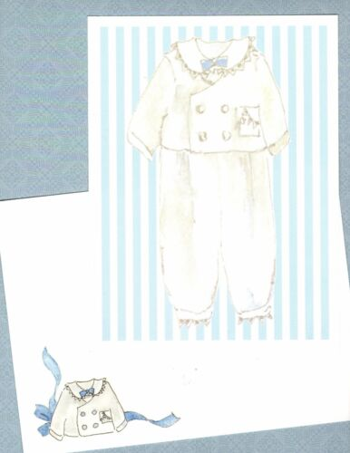 """Set of 30 Victorian Baby Boy Outfit Cards Invitations Announcements Striped 8"""""""