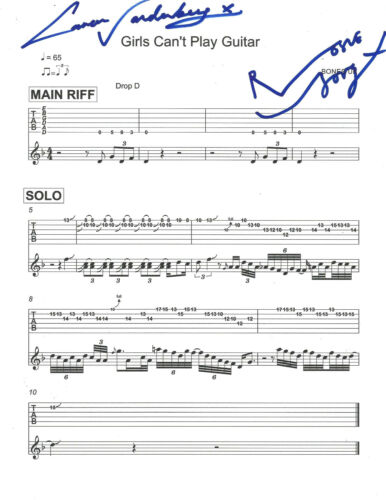 BONES UK (ROSIE & CARMEN VANDENBERG) SIGNED MUSIC SHEET PAGE B w/COA PROOF