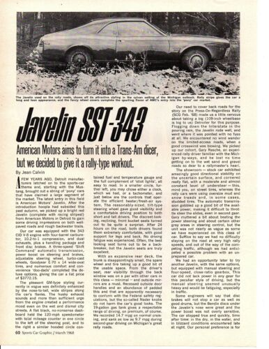 1968 AMC JAVELIN SST-343 ~ ORIGINAL 2-PAGE ARTICLE / AD