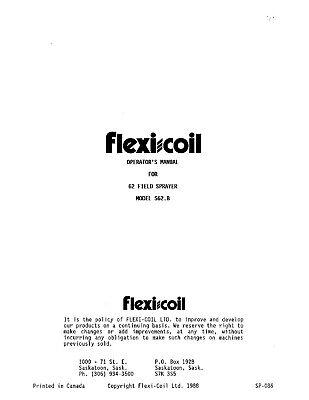 Flexi Coil S62.b 62 Field Sprayer Operators Operation Maintenance Manual