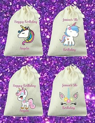 Set of 6 Custom Unicorn Birthday Party Favor Bags