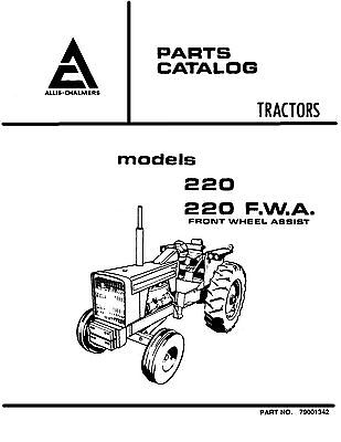 Allis Chalmers 220 Tractor Parts And Service Catalog Book Reproduction