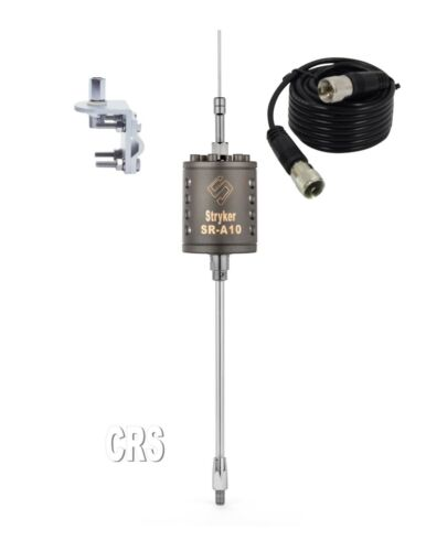 Stryker SR-A-10 CB/10 meter Radio Antenna, 9ft coax,mounting bracket and stud